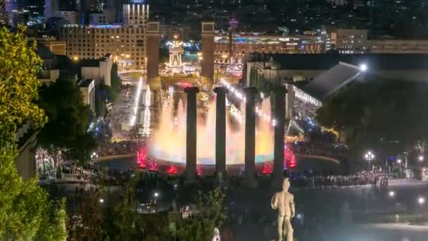 Night view of Magic Fountain light show timelapse in Barcelona, Catalonia, Spain.