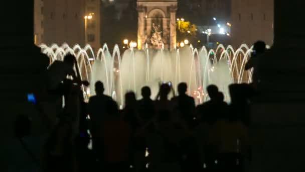 Noční pohled na světlo Magic fontány, s časovou docházky Barcelona, Katalánsko, Španělsko.