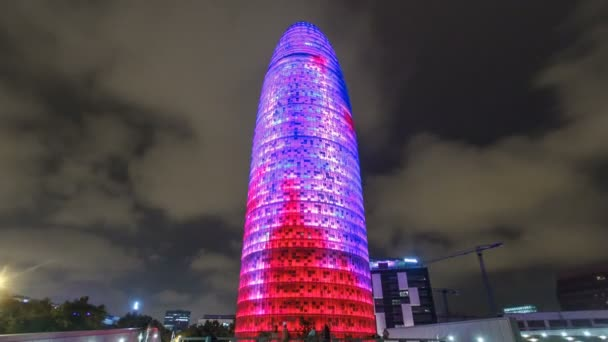 Night view of the Agbar tower timelapse hyperlapse. Since then its a Barcelona landmark.