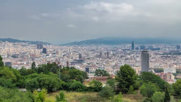 View from Montjuic over Barcelona foggy morning timelapse, Catalonia, Spain.