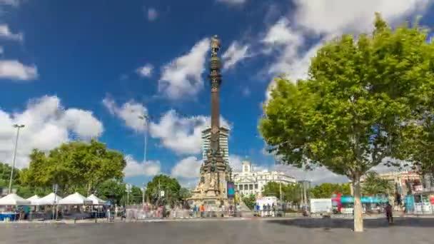 Columbus Monument timelapse hyperlapse Mirador de Colom, Barcelona, Španělsko
