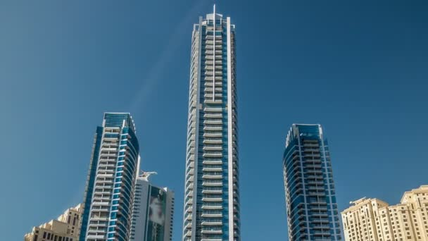 Close up View of Dubai Marina Towers in Dubai at day time timelapse hyperlapse