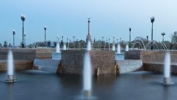 Fountain Performance in Strelka Park of Yaroslavl day to night timelapse hyperlapse