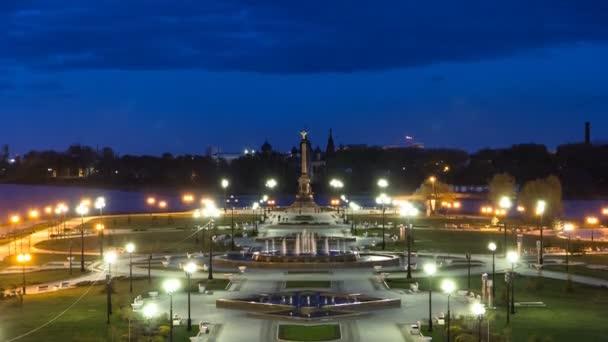 Fountain Performance in Strelka Park of Yaroslavl night timelapse
