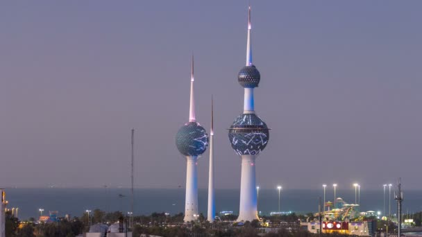 The Kuwait Towers day to night timelapse - the best known landmark of Kuwait City. Kuwait, Middle East