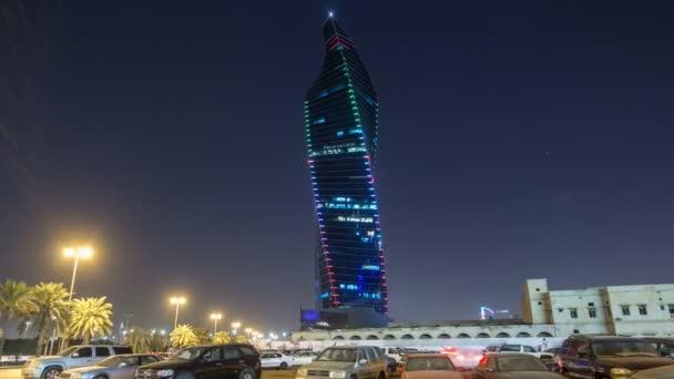 Al Tijaria Tower in Kuwait City night timelapse hyperlapse. Kuwait, Middle East