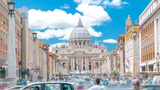 Rome, Italy, Vatican timelapse: St. Peters Basilica in Vatican City State view from Via della Conciliazione, Road of the Conciliation.