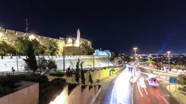 Traffic at Jaffa street and Tower of David at night timelapse hyperlapse. JERUSALEM, ISRAEL