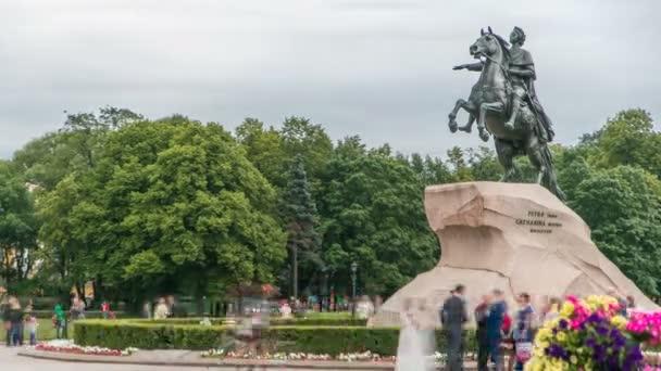 Pomník ruského císaře Petra Velikého, známé jako The Bronze Horseman timelapse, Petrohrad, Rusko
