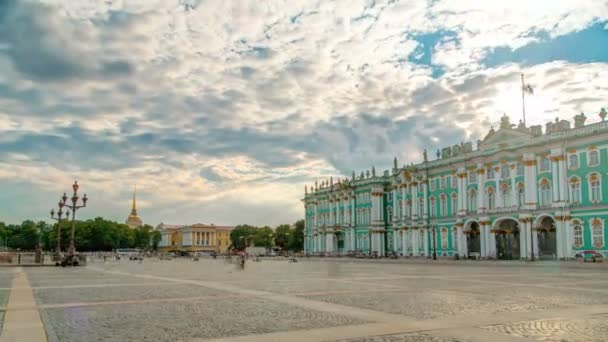 Sight-seeing Winter palace of Russian kings now Art museum Hermitage timelapse. St. Petersburg, Russia