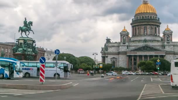 Saint Isaacs Cathedral and the Monument to Emperor Nicholas I timelapse, St. Petersburg, Russia