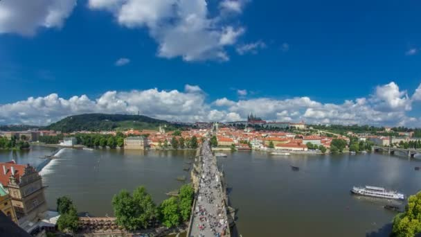 Charles Bridge and Prague Castle timelapse, view from the Bridge tower, Czech Republic
