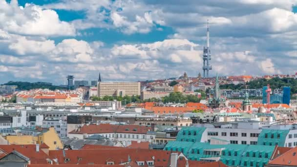 View on Prague lamdmark with Zizkov Television Tower timelapse