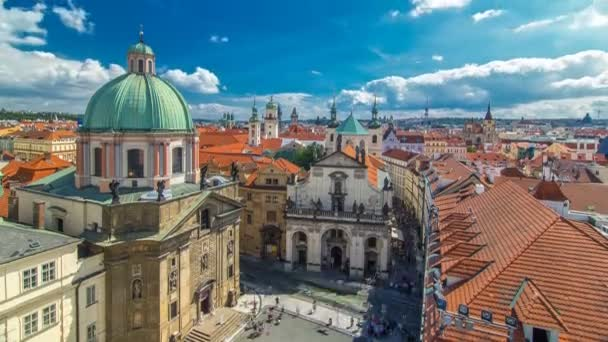 Church of St. Francis of Assisi and St. Salvator Church in Prague timelapse.