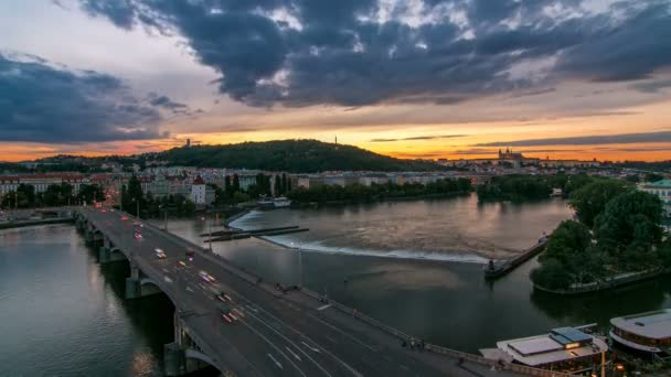 The View on Prague Hill Petrin timelapse with Owls Mills day to night with beautiful colorful sky, Czech Republic