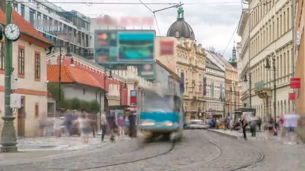 One of the symbol of Prague a tram - street car turning in Old Town Stare Mesto by Prague Namesti Republiky station timelapse. Prague, Czech Republic