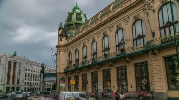 View of Municipal House and their art nouveau facades timelapse in Prague, Czech Republic