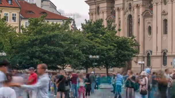 The Church of St. Nicholas behind the trees timelapse in Prague, Czech Republic