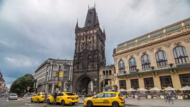 View of The Powder Tower timelapse hyperlapse and the Municipal House at the Republic Square in Prague.