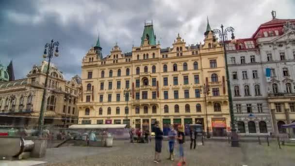 Art Nouveau buildings timelapse hyperlapse in Old Town Stare Mesto by Prague Namesti Republiky station. Prague, Czech Republic