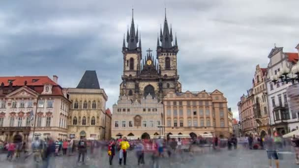 Old town square in Prague timelapse hyperlapse, Tyn Cathedral of the Virgin Mary and monument of Jan Hus.