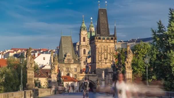 A view along Charles Bridge in Prague towards the Lesser Quarter in the morning timelapse.