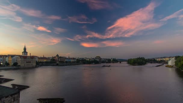 View from Charles Bridge in Prague before the sunrise night to day timelapse, Bohemia, Czech Republic.