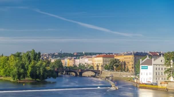 Vltava river timelapse in district Strelecky ostrov with the bridge of the Legions, Prague, Czech Republic