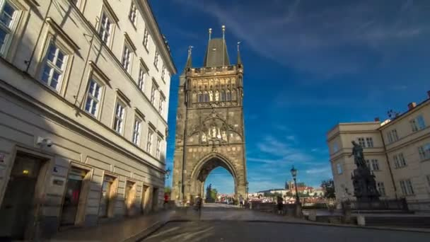Old Town Bridge Tower of the Charles Bridge timelapse hyperlapse - one of the most beautiful Gothic constructions in world.