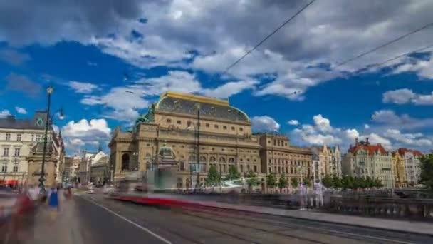 Timelapse hyperlapse view of the National Theater in Prague from the Legion Bridge.