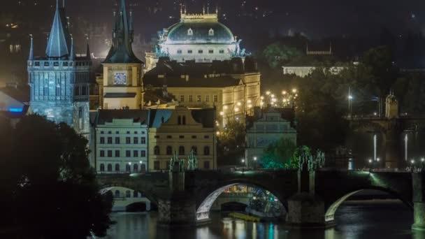 Malebný pohled na mosty na řece Vltavy a historické centrum Prahy: budovy