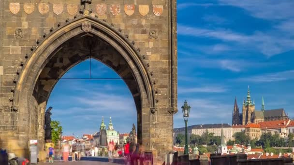 Old Town Bridge Tower of the Charles Bridge timelapse - one of the most beautiful Gothic constructions in world.
