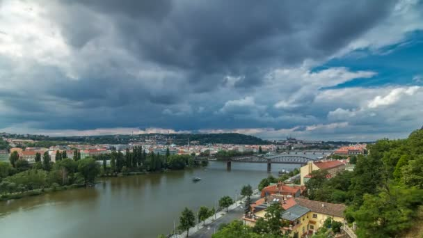 View of Prague timelapse from the observation deck of Visegrad. Prague. Czech Republic.