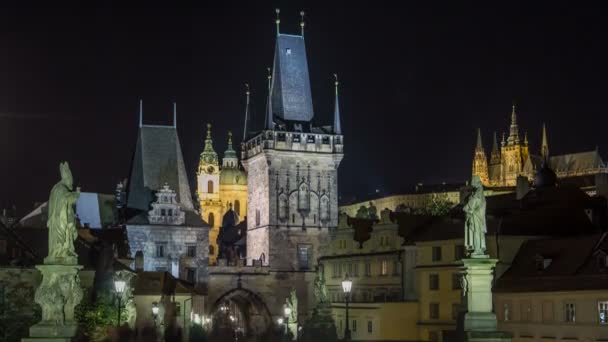 The night View on Prague Lesser Town with St. Nicholas Cathedral and Bridge Tower timelapse, Czech Republic