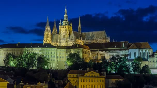Evening view of Prague Castle and Lesser Town timelapse, Czech Republic