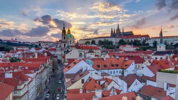sunset behind St Nicolas timelapse in Mala Strana in Prague