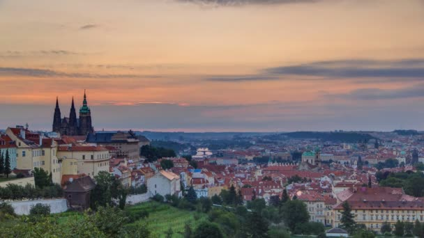 A beautiful view of Prague at sunrise on a misty morning timelapse.