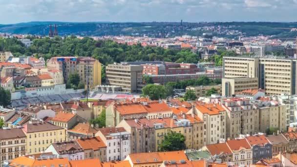 Panoramatický pohled na Prahu z vrcholu Vitkov Memorial, Česká republika