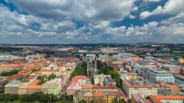Panoramic view of Prague timelapse from the top of the Vitkov Memorial, Czech Republic