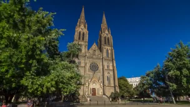 Medieval cathedral of Saint Ludmila timelapse hyperlapse in Prague in the Czech republic