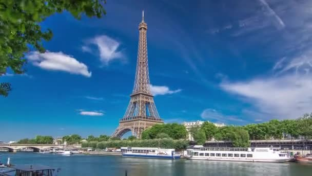 The Eiffel tower timelapse hyperlapse from embankment at the river Seine in Paris