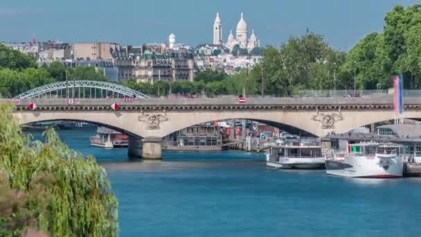 Bridge Jena and Basilica du Sacre-Coeur timelapse. Paris, France.