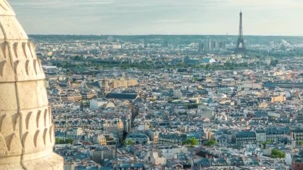 Panorama of Paris timelapse, Franciaország. Top kilátás a Szent Szív Bazilika Montmartre Sacre-Coeur .