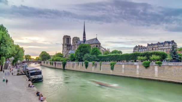 Sunset view of Cathedral Notre Dame de Paris timelapse in Paris, France.