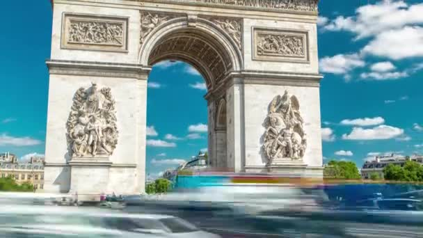 The Arc de Triomphe Triumphal Arch of the Star timelapse is famous monument in Paris