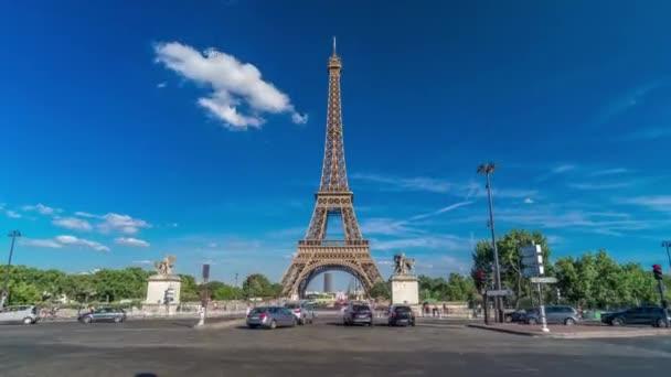 Eiffel Tower with bridge over Siene river in Paris timelapse hyperlapse, France