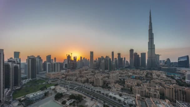 Dubai Downtown day to night transition timelapse with tallest skyscraper and other towers