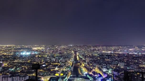 The city skyline at night. Paris, France. Taken from the tour Montparnasse timelapse