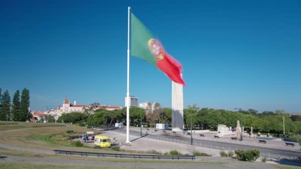 A Eduardo Vii Park Lisszabon Portugália timelapse tetején nagy portugál zászló
