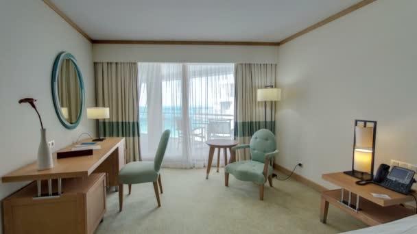 Interiér moderní komfortní hotel pokoje timelapse